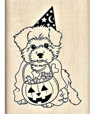 Inkadinkado Wood Stamp Trick or Treat Puppy 3 x 2.25  Fall Autumn Halloween  New