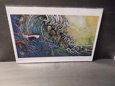 "SIGNED David Lozeau  ""R.I.P Current"" Art Print - Skeleton Wave Ocean Tattoo Surf"