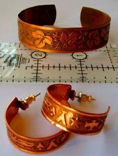 Solid Copper Hoop Earrings Faux Native Style Symbols Post Stud & Cuff Bracelet