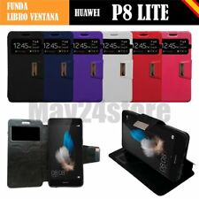 Funda soporte libro ventana Huawei P8 LITE + protector cristal + mem opcional
