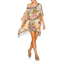 new CAMILLA FRANKS SILK SWAROVSKI FLOWER HOUR SHORT ROUND NECK KAFTAN DRESS