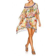 new CAMILLA FRANKS SILK SWAROVSKI FLOWER HOUR SHORT ROUND NECK KAFTAN DRESS