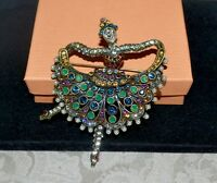 "New $100 HEIDI DAUS ""May I Have This Dance"" Ballerina Brooch Pin CRYSTALS"