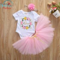 One Pink 1st Birthday Toddler Baby Girl Outfit Tutu Skirt Dress Cake Smash UK