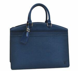 Authentic Louis Vuitton Epi Riviera Hand Bag Blue M48185 LV D7908