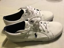 Polo Ralph Lauren Felixstow White Canvas Casual Sneakers Size 13 New