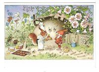 AK, Zwerg, Eichhörnchen, Insekten, Blumen, Bäckerei, Künstlerkarte, Baumgarten