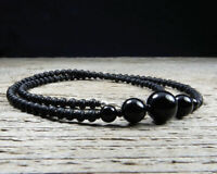 Thin Black Onyx Choker or Necklace with Seed Beads and Sterling Silver Clasp