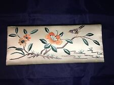 Vintage Silk Covered Chinese Jewelry Trinket Box Embroidered Flowers & Bird