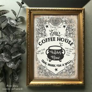 Halloween Coffee Sign Witches Poster Picture Home Decor UNFRAMED