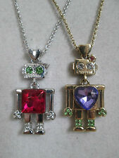 NWT Auth Betsey Johnson Rhinestone ROBOT 2 Tone Chain Pendant Necklace Set of 2