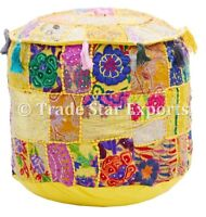 Indian Vintage Ottoman Pouf Embroidered Patchwork Pouffe Cover Round Footstool