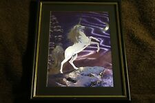 Unicorn Moon Holographic Foil Dufex print Black & Gold wooden framed with glass