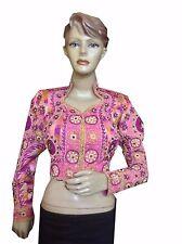 Om Vintage Indian Art Silk Zardozi Work Pink Stitched Blouse Choli Size-L B29