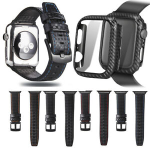 Carbon Fiber Leather iWatch Band Straps Cover Case for Apple Watch 38/40/42/44mm
