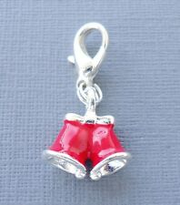 Red CHRISTMAS BELL 3D Clip On Charm Fit Link Chain, floating glass locket M15