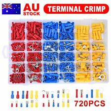 720x Electrical Assorted Crimp Terminals Wiring Connector Insulated Spade Kit AU