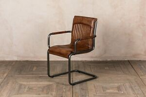 RETRO STYLE TAN LEATHER UPHOLSTERED DINING CHAIR WITH ARMREST VINTAGE FINISH