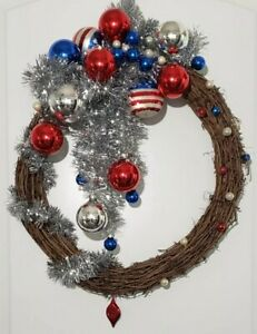 Handmade Wreath Patriotic Christmas Elections 4th July Door Decor Red Wite Blue