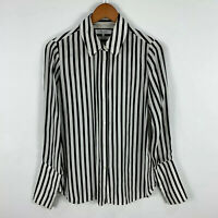 Frame Womens Silk Blouse Top Size Small White Black Striped Long Sleeve Collared