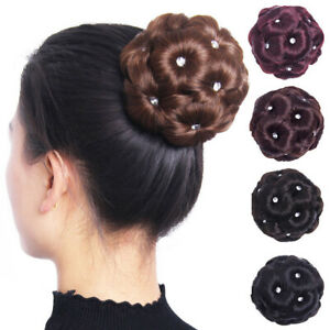 Female Wig Hair Ring Curly Diamond Bun Flowers Chignon Hairpiece Bride Makeup