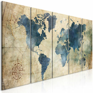 Canvas Print World Map Framed Wall Art Picture Image k-A-0415-b-m