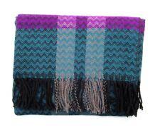"Knit Winter Scarf Chevron Pattern Teal Green & Pink Woven Long Scarf  3"" Fringe"