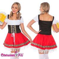 Ladies Beer Maid Costume Red German Heidi Oktoberfest Octoberfest Fancy Dress