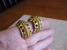 Swarovski Large Gold Tone Hoop Clip Earrings w/ Multi Color Crystals / Swan Mark
