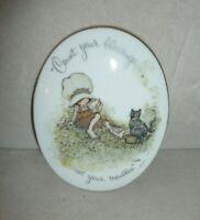 "Vintage Holly Hobbie Porcelain Plaque ""Count Your Blessings Not Your Troubles"""