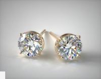4Ct Round VVS1 Diamond Push Back Solitaire Stud Earrings 14K Yellow Gold Finish
