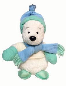 "RARE HTF Disney Winnie Pooh Bear Plush White Winter Beanie Stuffed Animal Toy 8"""