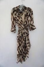 Diane von Furstenberg Brown Silk Sheer HILLEVI Belted Wrap Shirt Dress Size 4