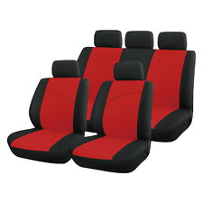 Red and Black, Front & Rear Car Seat Covers: Soft Plush Velour (8 Piece SET)
