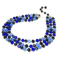 VINTAGE Shades of Blue 3 Tier BEAD NECKLACE Hong Kong PLASTIC Silver Tone BLACK