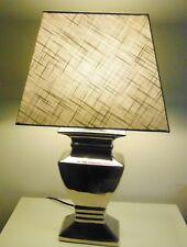 TISCHLAMPE 52cm STOFF- LAMPENSCHIRM oliv eckig, SILBERFUSS Keramik E27 40W A++