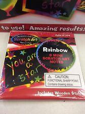 10 X Scratch-Art Rainbow Mini Notes  - Rainbow Fun Art Toy Kids