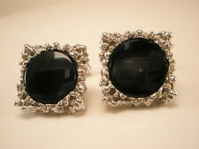 Silver Tone Nugget Style Black Stone Vintage Quality Destino Cuff Links gift
