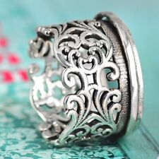 cutout flowers and swirls Sterling Silver Flower ring Vintage 925 Floral Cut Out Filigree Flowers