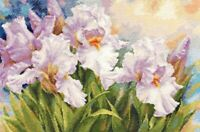 New Counted Cross Stitch Hand Embroidery Kit White Irises Alisa Manufacture