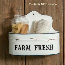 New Primitive Shabby Farmhouse Chic White Metal Farm Fresh Wall Basket Shelf Bin
