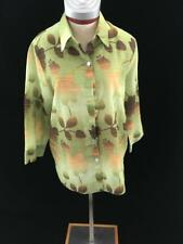 Alfred Dunner button down top Size 12 green brown floral 3/4 sleeve sheer blouse