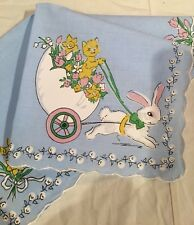 Sweet New Spring Easter Bunny Handkerchief ~ Hankie - Kitty & Bunny Carriage!