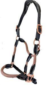 Rope and Leather Hybrid Halter Rose Gold Halter  Brown or Black Leather