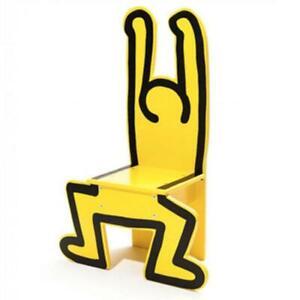 Keith Haring Chair yellow Natural wood design rare
