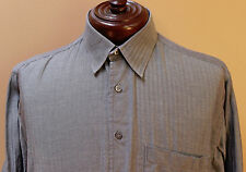 Brioni Long Sleeved Button Front Shirt Dark Gray size Large made in Italy     ZZ