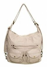 Convertible Purse - Both Backpack and Shoulder Bag in Soft Vegan Leather (Taupe)