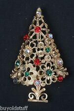 Vintage MYLU Christmas Tree Pin Book Piece Signed Filigree & Rhinestones