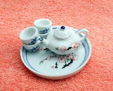 6Pcs Ume Flower Ceramics Tea Set Dollhouse Miniature Oriental Korean Traditional