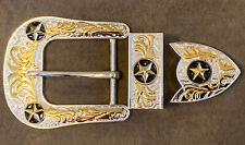 NEW HIGH QUALITY  STAR RODEO BELT BUCKLE WESTERN COW BOY SILVER/GOLD